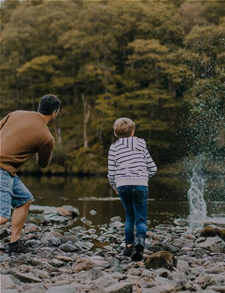 farther-and-son-having-fun-skimming-rocks-at-lowther-castle